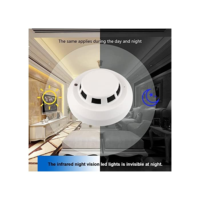 Heymoko Wi-Fi Smoke Detector Camera Motion Detection Night Vision 1080P  Wireless IP Indoor Baby Pet Monitor Remote Real Time Video Free App View  Nanny