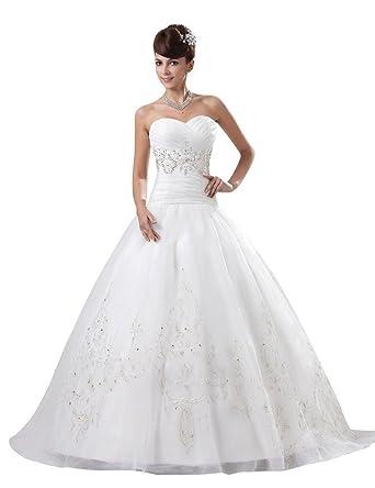 Ebelz Strapless Brautkleid vestido de novia Spitzenkleider: Amazon ...