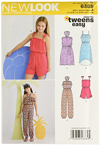 (Simplicity New Look Sized for Tweens Easy Pattern 6389 Girls Sundress and Romper Sizes 8-10-12-14-16)