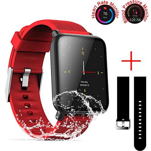 SZHAIYU Blood Pressure Heart Rate Monitor Smart Watch Android iOS IP67 Waterproof Sport Fitness Trakcer Watch Men Women Smartwatch (Red)