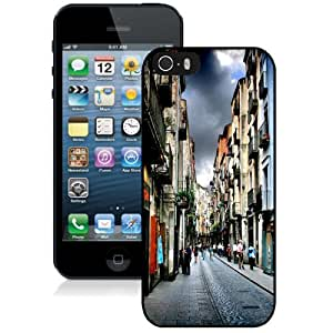 NEW Unique Custom Designed iPhone 5S Phone Case With Narrow Street In Girona Spain_Black Phone Case