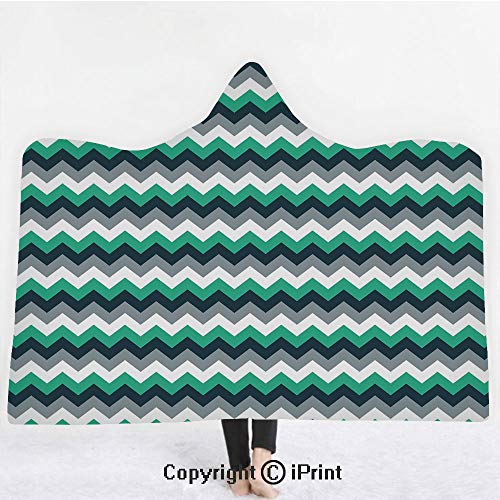"(Chevron 3D Print Soft Hooded Blanket Boys Girls Premium Throw Blanket,Zig Zag Symmetric Arrows Striped Pattern in Vibrant Color Artisan Print,Lightweight Microfiber(Kids 50""x60"")Jade Green Grey White)"