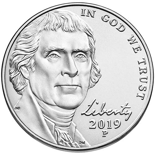 2019 P & D BU Jefferson Nickel Choice Uncirculated US Mint 2 Coin Set
