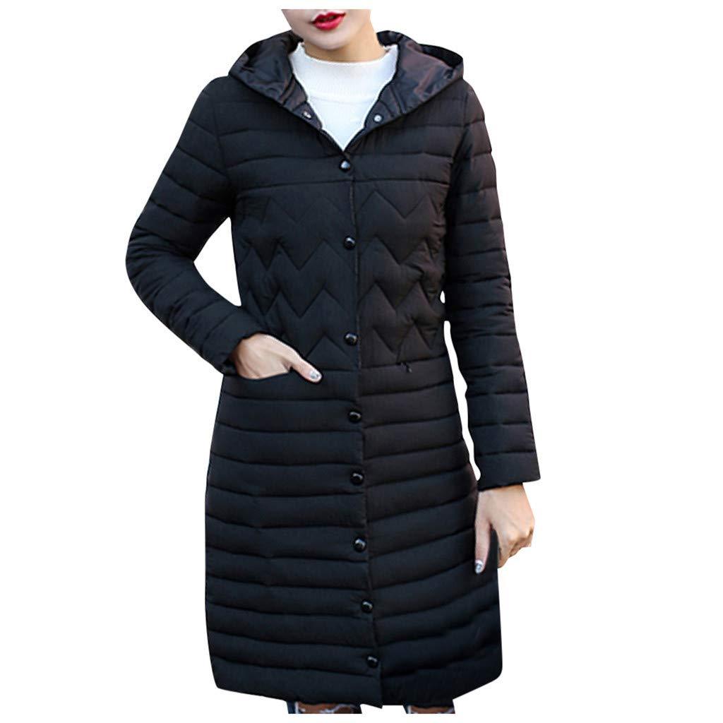 Alangbudu Women Thicken Hoodie Warm Overcoat Wave Button Jacket Long Sleeve Windbreaker Tops Long Outwear with Pocket Black by Alangbudu-Women's Long sleeve blouses & sweatshirts & hoodies