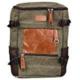 Olive/Brown Vintage Laptop College Backpack For Apple MacBook Pro 13'' w/Retina Series, MacBook Air 13.3'', MacBook Air 11.6'' Laptop