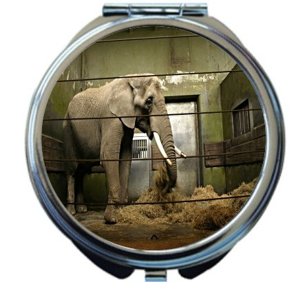 Rikki Knight Elephant in Cage Design Round Compact Mirror by Rikki Knight