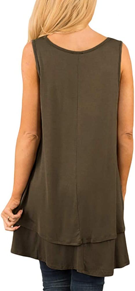Mimfor Women Casual Sleeveless V-Neck Ruffle Layer Asymmetric Hem Tunic Tank Top Blouse