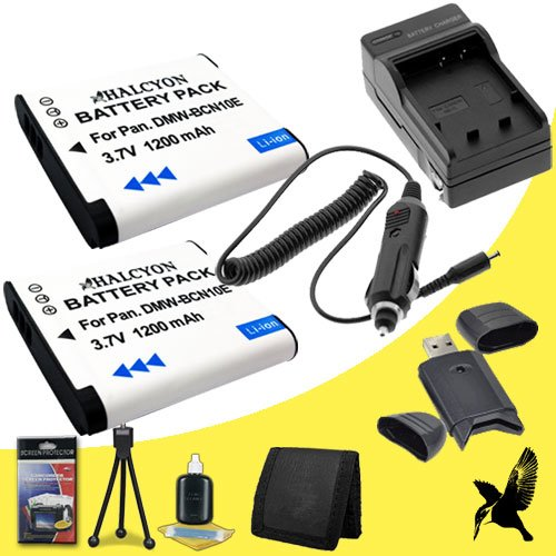 Two Halcyon 1200 mAH Lithium Ion Replacement DMW-BCN10 Battery and Charger Kit + Memory Card Wallet + SDHC Card USB Reader + Deluxe Starter Kit for Panasonic Lumix DMC-LF1 Digital Camera and Panasonic DMW-BCN10