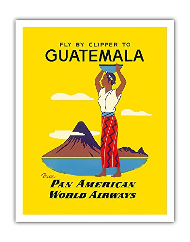 Fly by Clipper to Guatemala via Pan American World Airways - Native Indian Woman, Pacaya Volcano PAN AM - Vintage Airline Travel Poster c.1950s - Fine Art Print - 11in x 14in ()