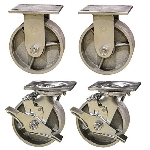 Service Caster SCC-30CS420-SSR-TLB-2-R420-2 Heavy Duty Semi Steel Cast Iron Casters, Swivel with Brakes 2 Rigid, 4000 pounds Capacity, 4'' Size (Pack of 4) by Service Caster