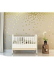 Muursticker 4U®- 162x Muurtattoo stippen in GOLD zelfklevend I gouden stickers cirkels voor muren en meubels I Muursticker kinderkamer sterrenhemel stippen (D. punten: goud)