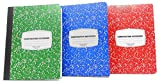 4E's Novelty Composition Books Notebooks Pack of 3, Wide Ruled Notebook, for Students and Schools, 100 Paper Sheets 9.75 X 7.5 Inches