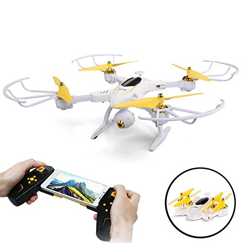SZJJX Remote Control Drone with Camera Foldable Fpv VR Wifi RC Quadcopter 2.4Ghz 6-Axis Gyro 4CH Helicopter with 2mp 720P HD Camera Time Transmission Rtf SJ39 White
