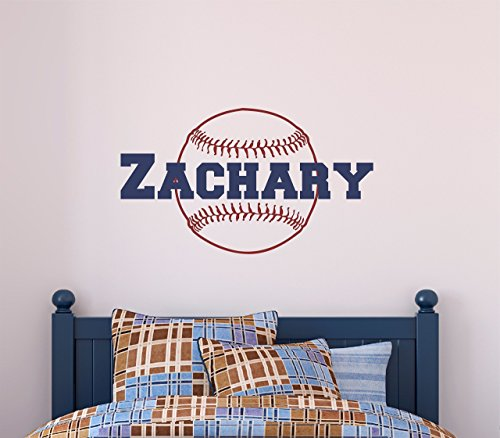 Custom Name Baseball Wall Decal - Boys Personalized Name Bas