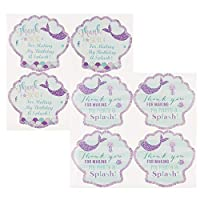 Floranea 10 Sheets Mermaid Thank You Birthday Party Stickers Labels Sea Shell Blue Waterproof Party Favor Self Adhesive Stickers for Baby Shower Wedding Theme Parties Decoration Supplies
