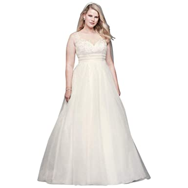 David\'s Bridal Appliqued Organza A-line Plus Size Wedding Dress ...