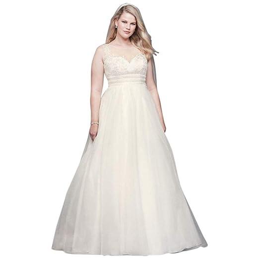 8f9cf15a336d6 David s Bridal Appliqued Organza A-line Plus Size Wedding Dress ...