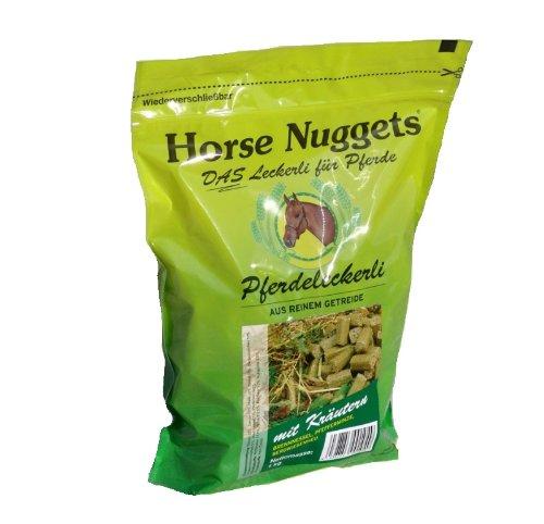 Horse Nuggets® Pferdeleckerli - 1kg Beutel - mit Kräutern (Brennnessel, Pfefferminze, Bergwiesenheu)
