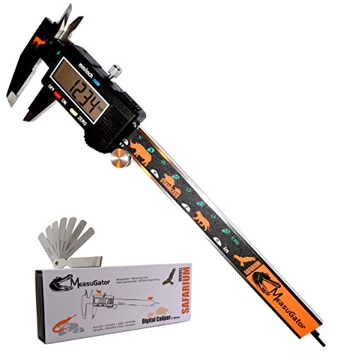 MeasuGator Safarium Digital Caliper, 2 Addons, Verifiable Accuracy, Automatic Off/On, 6 Inch/150 mm Range, SAE/Metric Modes, Premium Quality Stainless Steel Calipers, Spare Batteries, Feeler Gauge