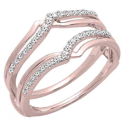 0.25 Carat (ctw) 14K Rose Gold Diamond Ladies Wedding Band Guard Double Ring 1/4 CT (Size (0.25 Ct Rose)