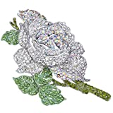 EVER FAITH Women's Crystal Enamel Romantic Blooming Rose Flower Leaf Brooch Green w/Clear Silver-Tone