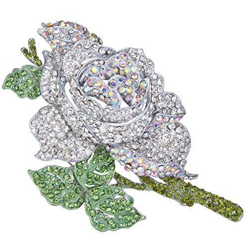 Green Enamel Rose - EVER FAITH Women's Crystal Enamel Romantic Blooming Rose Flower Leaf Brooch Green w/Clear Silver-Tone