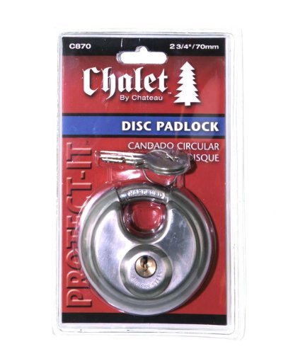 (Chalet Disk Padlock - Round Padlock with Shielded Shackle, 2-3/4-inch, Stainless Steel)