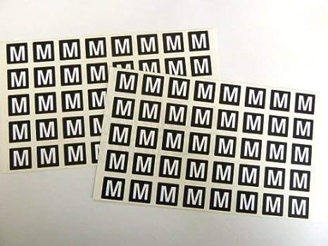 Amazon.com: Letra M, blanco alfabeto letras en negro 0.787 x ...