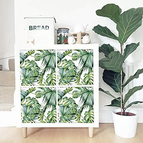 "APSOONSELL Banana Leaf Wallpaper for Livingroom,Peel Stick Stickers for Furniture,Set of 4 pcs(12.99"" x 12.99"")"