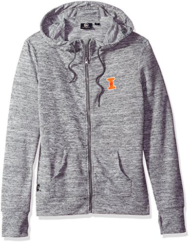NCAA Illinois Illini Women's Zip Front Drawstring Hoodie, Large, Marled Gray - Illinois Womens Hoody Zip Sweatshirt