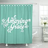 TOMPOP Shower Curtain Quote Amazing Grace God Jesus Waterproof Polyester Fabric 60 x 72 Inches Set with Hooks