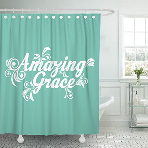 TOMPOP Shower Curtain Quote Amazing Grace God Jesus Waterproof Polyester Fabric 60 x 72 Inches Set with Hooks by TOMPOP