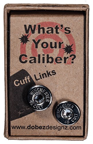 45 Colt Nickle Plated Cuff-Links with Swarovski Crystals (Winchester)