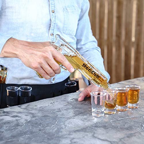 Bachelor Party Accessories (SHOTSCLUB Unique Whiskey Glass Set and Decanter - Gun Decanters for Alcohol, 8 Shot Glasses, Holster, Carry Case - Drinking Party Accessories for)