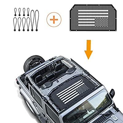 Danti Front Eclipse Sunshade Mesh Sun Shade Top Cover with USA Flag Provides UV Sun Protection for Jeep Wrangler 2 Door/4 Door JL 2020 Soft Top: Automotive