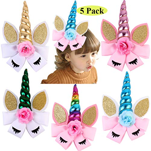 8 Inch Unicorn Hair Bows Large Hair Bow Clip Unicorn Hair Clips Accessories for Baby Girls Kids Teens Cosplay Costume Christmas Party Pack of 5