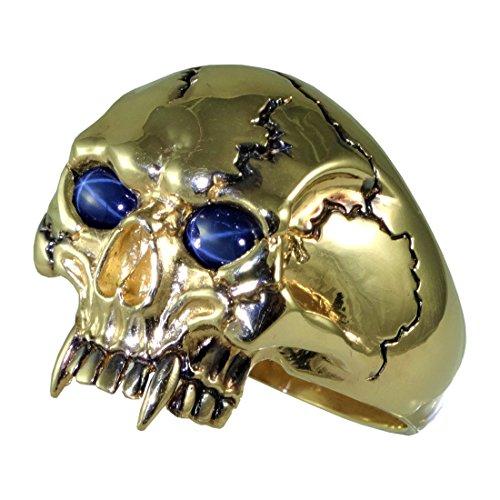 UNIQABLE 14K Solid Yellow Gold Vampire Skull Sapphires Ring Biker Harley Man Size Sk 9 Y14KSAP (12) (Sapphire Biker Ring)