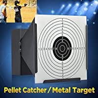 A/&N 14cm Funnel Shooting Target Holder Pellet Trap /& 200 Paper Target for Air Rifle Airsoft