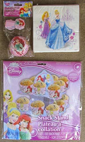 Cupcake Birthday Party Pack Ariel Rapunzel Cinderella (Stand Napkins & Cupcake Pics & Cups) ()