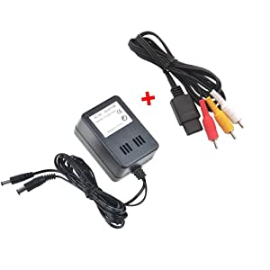 WiCareYo AC Power Adapter Wall Charger Power Supply with AV cable for NES SNES Genesis1