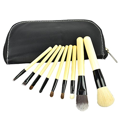 Finejo 9 Pcs Professional Cosmetic Makeup Brush Set Kit with Synthetic Leather Black Case Bags