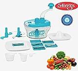 Slings 14 pcs Manual Food Processor - Chopper, Blender, Atta Maker, Dough Kneader - Sky Blue