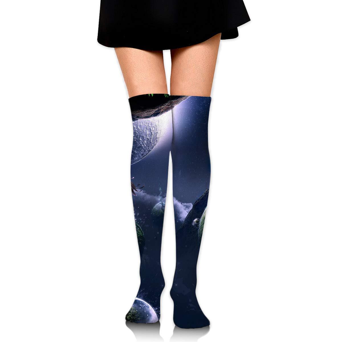 High Elasticity Girl Cotton Knee High Socks Uniform Fantasy Eagle Earth Women Tube Socks