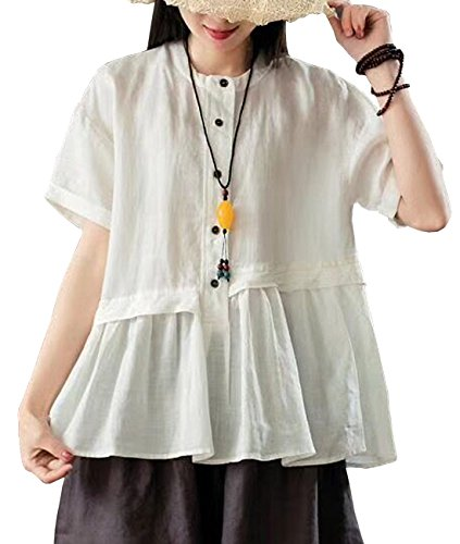 - YESNO Y63 Women Casual Loose Fit Blouse Shirt Button-Up Shirt 100% Linen 'A' Skirt Gathered Short Sleeve