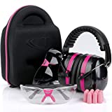 Tradesmart Pink Ear Muffs, Earplugs, Gun Safety Glasses & Protective Case - UV400 . Anti Fog & Anti Scratch with Microfiber pouch | Gun Range Ear Protection & Eye Protection for Shooting