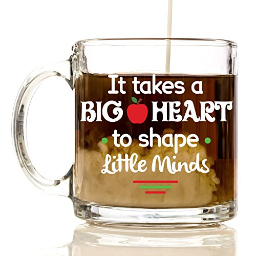 It Takes a Big Heart to Shape Little Minds Coffee Mug 12 oz. - Perfect for Teachers Gifts, Teacher Appreciation Gifts, Best Christmas Gifts for Teachers, Teacher Assistant, Appreciation