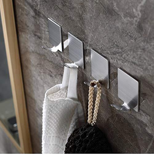 3M Self Adhesive Hooks,Heavy Duty Wall Hooks Reusable 304 Stainless Steel Waterproof Holder Hanger for Robe, Coat, Towel, Keys, Bags, Home, Kitchen, Bathroom,Office(8 Pack) Photo #6