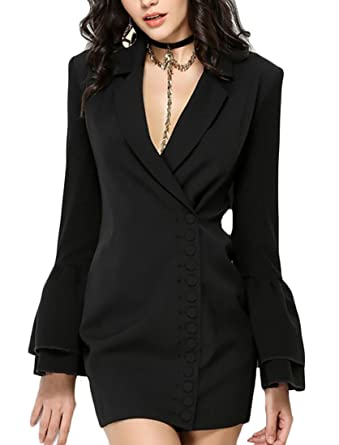 55ff35cf2a15 GenericWomen Generic Women Lapel Bell Sleeve Office Solid Color Button Slim  Fit Suit Blazers Mini Dress Black M at Amazon Women's Clothing store: