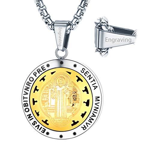 FaithHeart Custom Engraved Saint Benedict of Nursia Pendant Necklace, Stainless Steel Essential Oil Diffuser Locket Pendants Christian Jewelry
