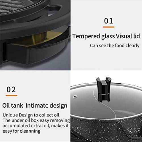 YZ-YUAN Gril électrique d'intérieur à la Maison, avec Pot Chaud, poêle à Barbecue antiadhésive sans fumée de Grande capacité, avec séparateur séparé à Double température